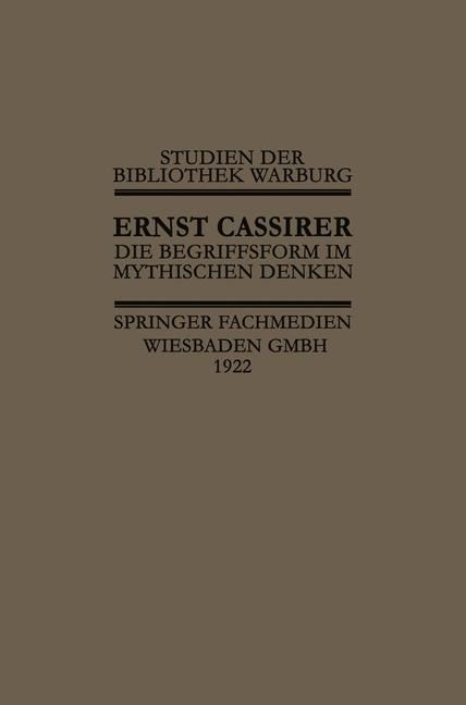 Cover of 'Die Begriffsform im Mythischen Denken'