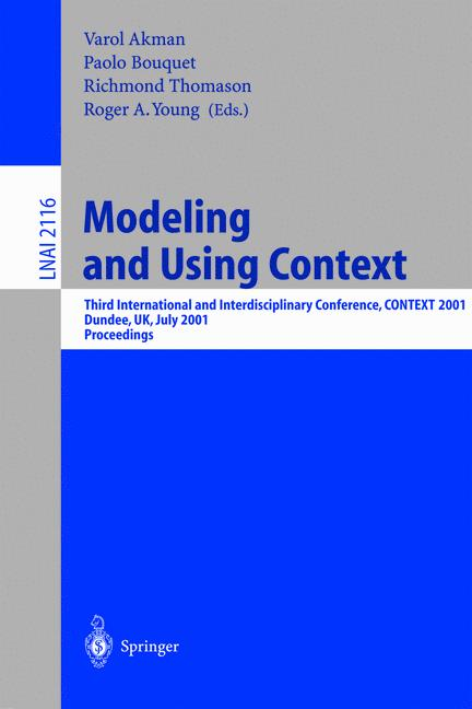 Cover of 'Modeling and Using Context'