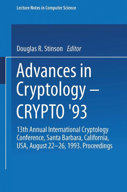 Cover of 'Advances in Cryptology — CRYPTO' 93'