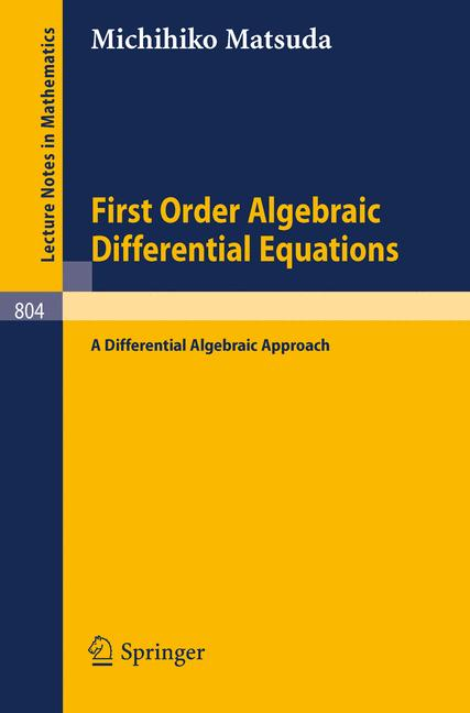 Cover of 'First Order Algebraic Differential Equations'
