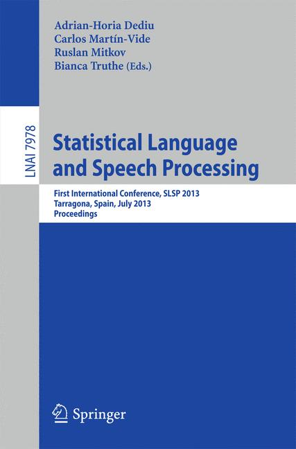 Cover of 'Statistical Language and Speech Processing'
