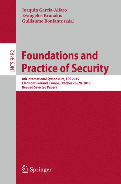 Cover of 'Foundations and Practice of Security'