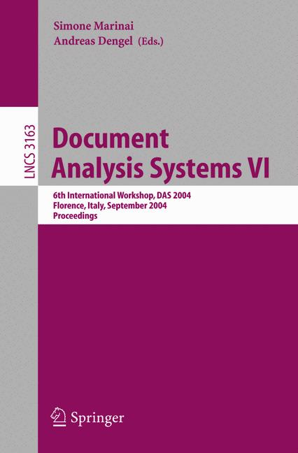 Cover of 'Document Analysis Systems VI'