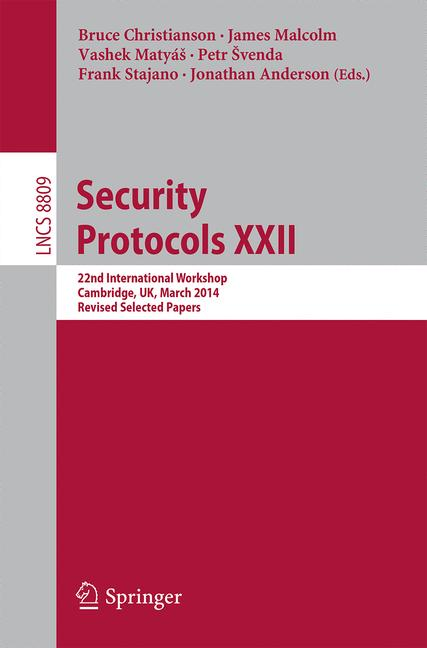Cover of 'Security Protocols XXII'