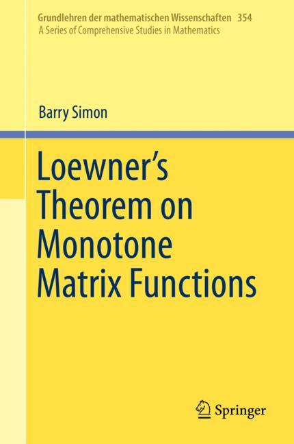 Cover of 'Loewner's Theorem on Monotone Matrix Functions'