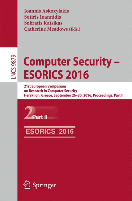 Cover of 'Computer Security – ESORICS 2016'