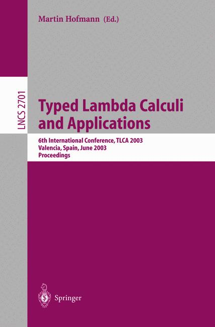Cover of 'Typed Lambda Calculi and Applications'