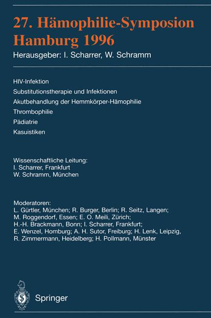 Cover of '27. Hämophilie-Symposion Hamburg 1996'
