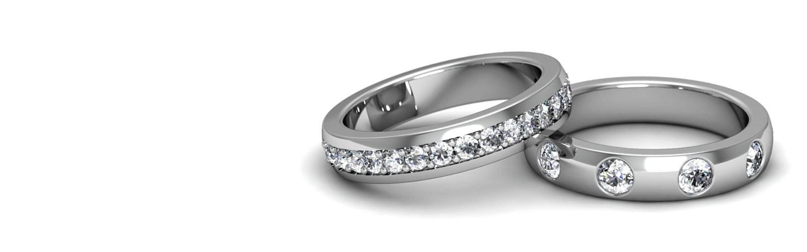 Diamond-Encrusted Wedding Bands