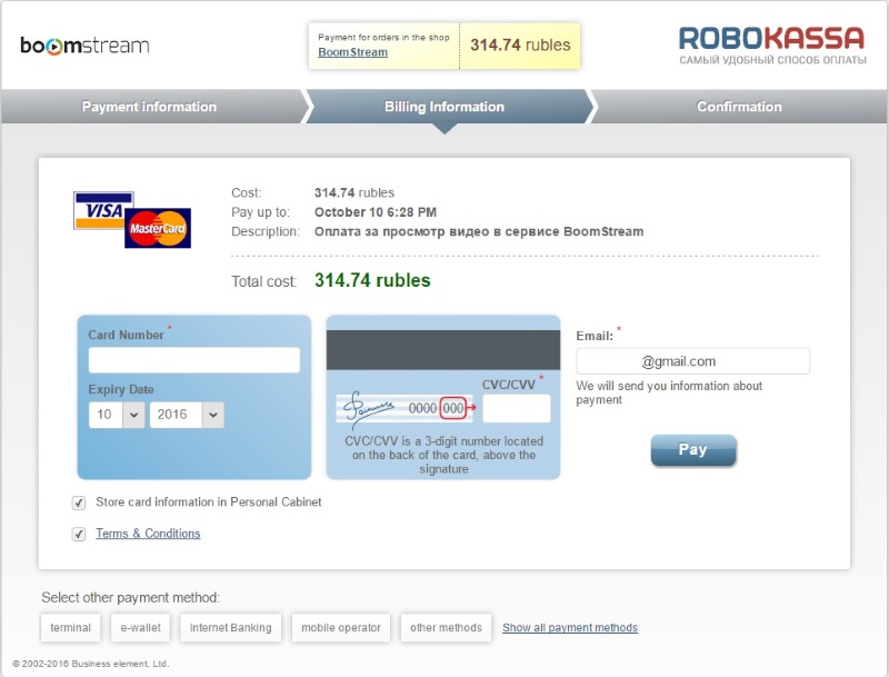 payment with card...