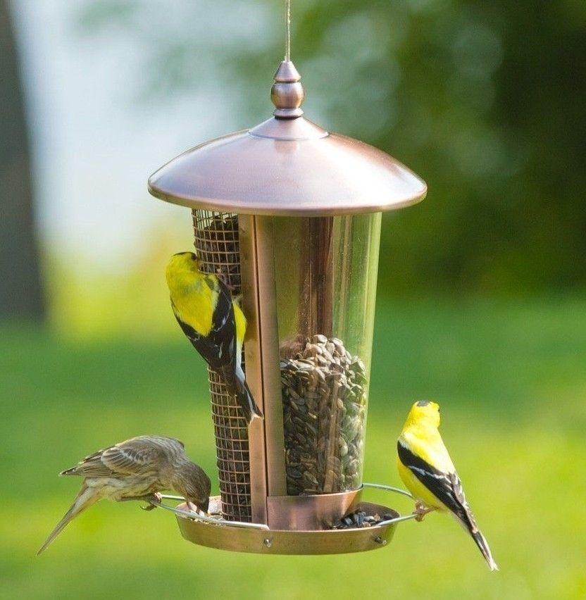 GBW Outdoor Garden Copper Hanging Stand Seeds & Peanuts Wild Bird Feeder Table