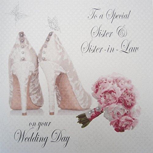 """Bouquet Carte cotone bianco da sposa Codice PD144b registrazione a una sorella speciale & Sister-in-Law il giorno del matrimonio""""Gay Wedding Greeting Card Handmade"""