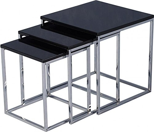 Seconique Charisma Tables gigognes – Noir brillant/chrome