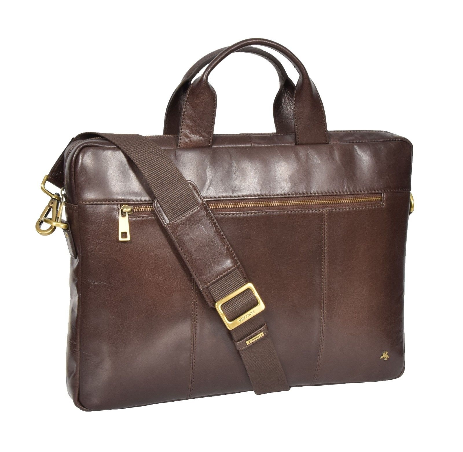 Laptop Briefcase Real Leather Business Bag Organiser Messenger Satchel Brown NEW