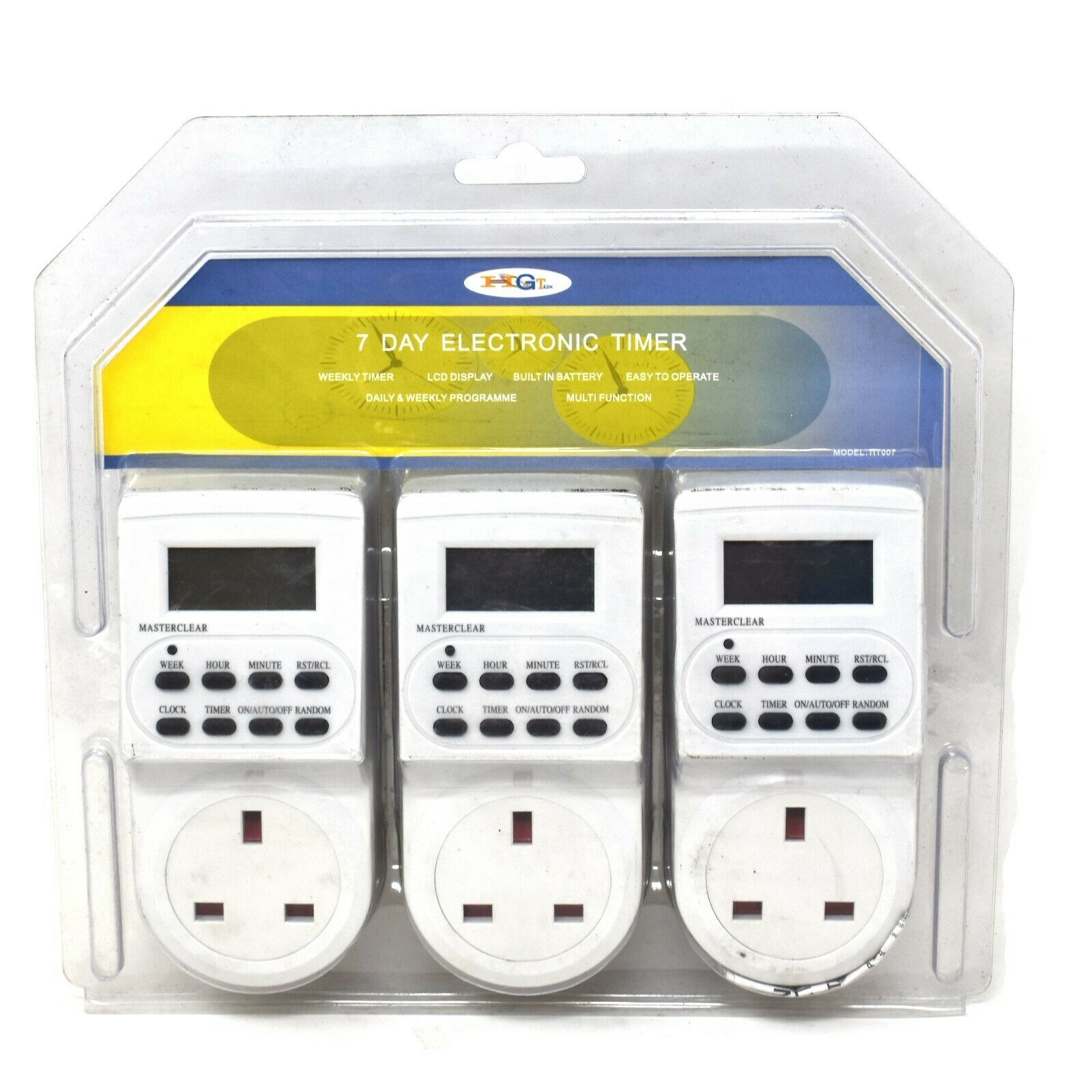 3 x 7 DAY DIGITAL LCD ELECTRONIC PLUG-IN PROGRAM TIMER 12/24 HOUR SWITCH SOCKETS