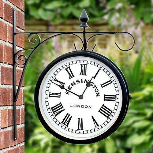 Outdoor Hanging Garden Station Clock Kensington Dual Face - Black 25cm