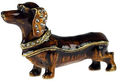 London Ornaments Dachshund Sausage Dog Trinket/Pill Box - Enamel finish