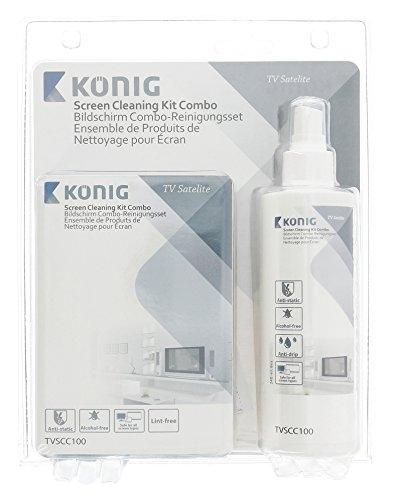 König TVSCC100 Kit Combo di Pulizia per Schermi con Detergente Antigoccia da 240 ml, Blu
