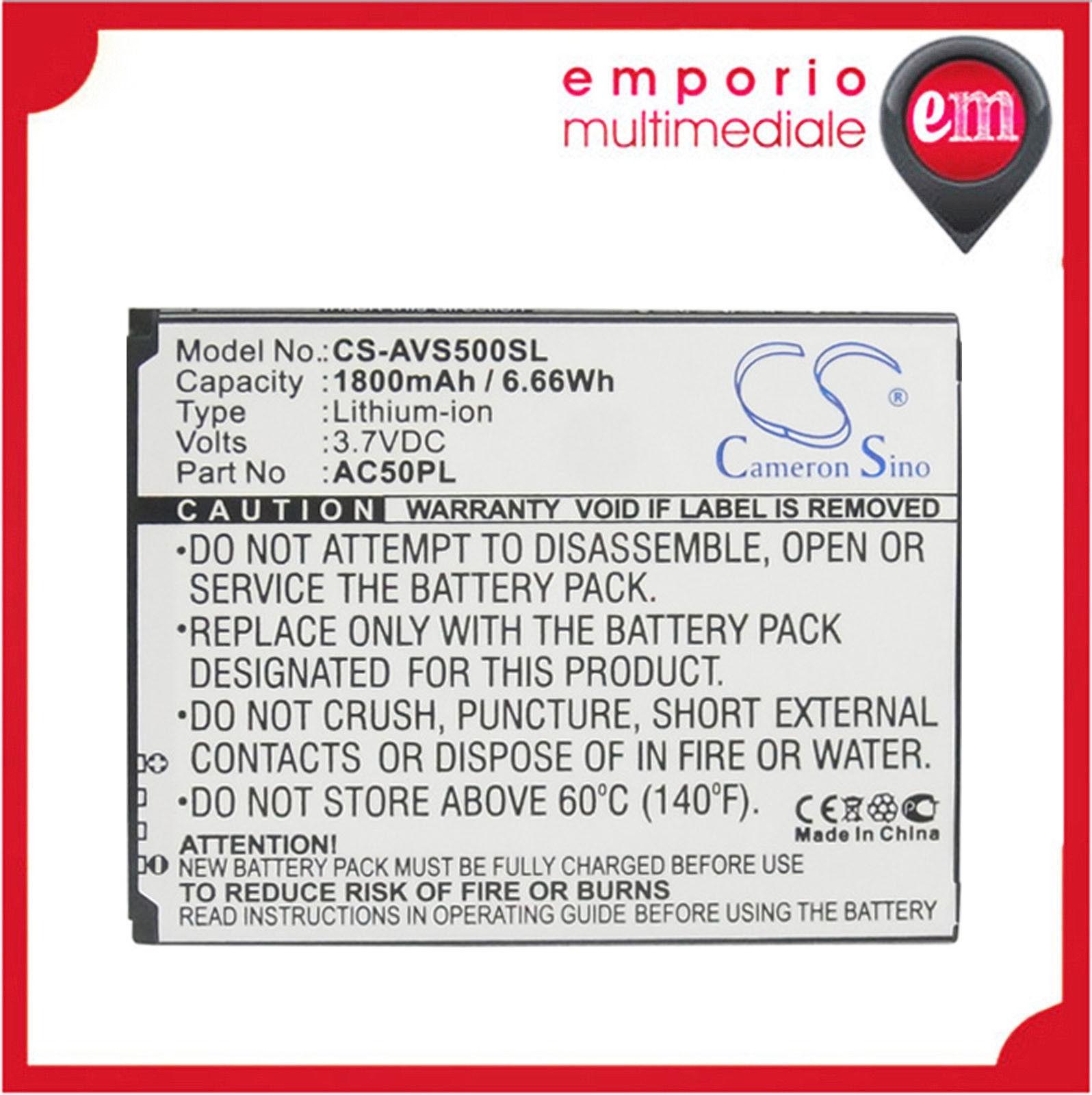 BATTERY PACK Batteria AVS500SL X-Longer ARCHOS 50 50 Helium 4G 50 Platinum AC50P