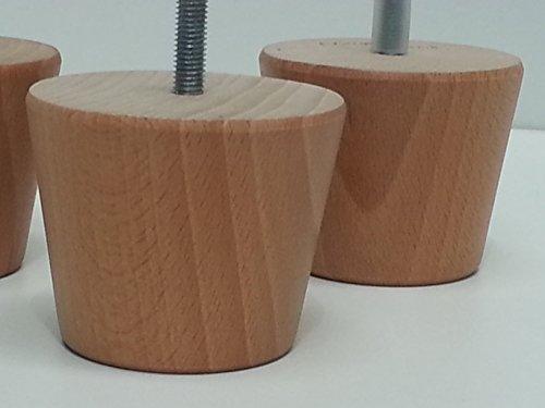 4 piedini di legno rotondi per mobili gambe in legno di for Mobili per divani