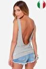 CANOTTA DONNA Women Summer Sexy Backless Vest Sleeveless Drape Slim Tank Tops !!