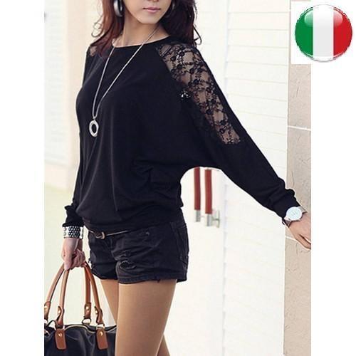maglia donna Women Loose Bat Dolman Long Sleeve Lace Blouse T-shirt Hot Sale!!!!