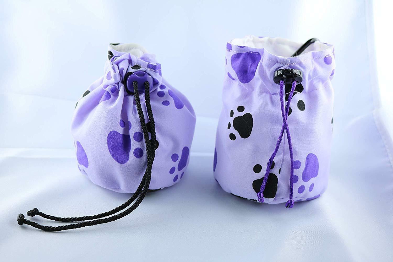 Leckerlibeutel lila mit Pfoten Hunde-Training Futter-Beutel Gürteltasche