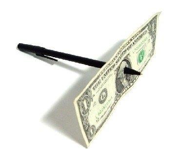 Penna attraverso banconota,giochi di prestigio,trucchi magia