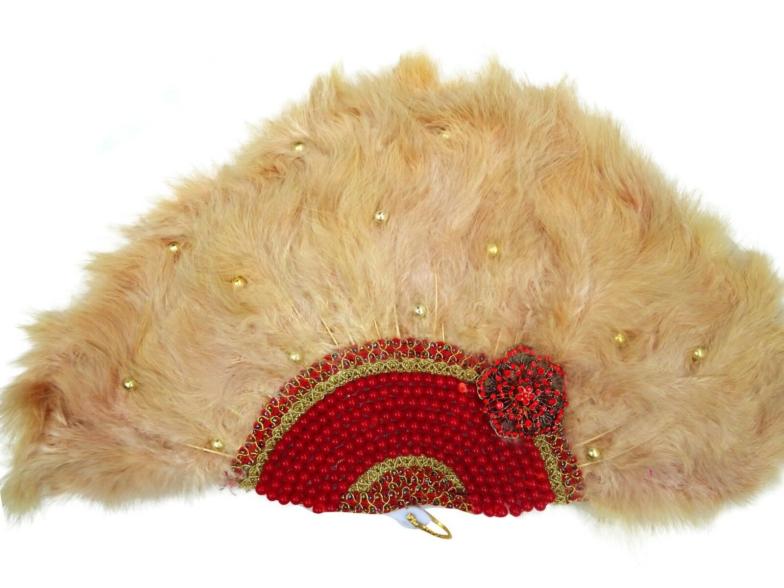 Beautiful Detailed Champagne Gold Hand fan with Red Pearls African Hand Fan