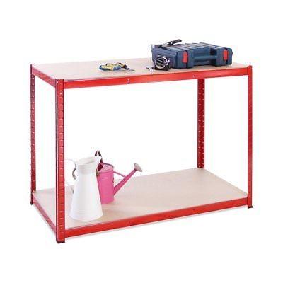 120cm Wide, 60cm deep, 90cm High, Red Garage Shed Racking Storage Workbench, 5 Y