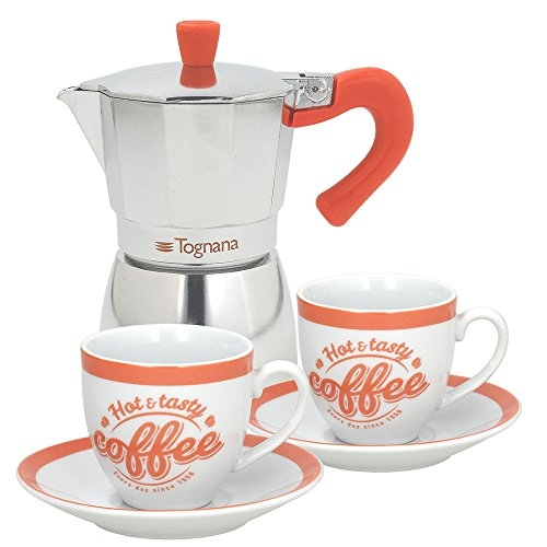 Tognana Coffee Time Set Cafetière 2 tasses, aluminium, multicolore vert/orange/turquoise