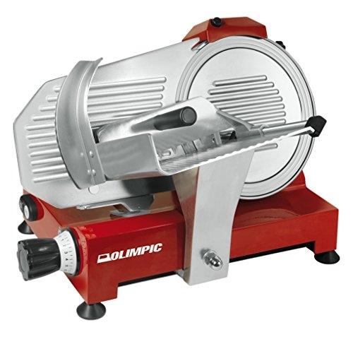 Olimpic 53133 Affettatrice Evolution 250, 180 Watt, Rosso/Alluminio Spazzolato