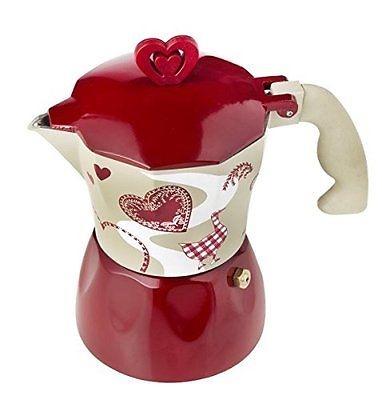 Brandani Caffettiera Moka CUORE ROSSONBIANCA LOVE ROMANTIC EXPRES3 tazze 55594