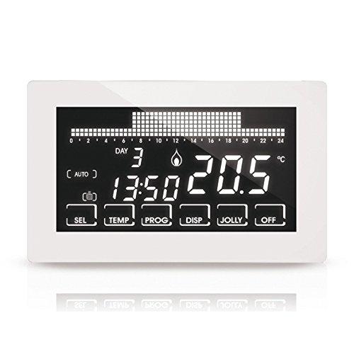 Fantini Cosmi CH191B Cronotermostato Touchscreen Retroilluminato a Batterie, Bianco
