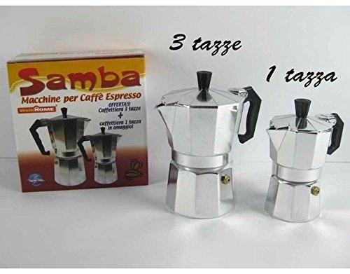 Set Caffettiere Samba moka da 1 Tazza + moka da 3 Tazze