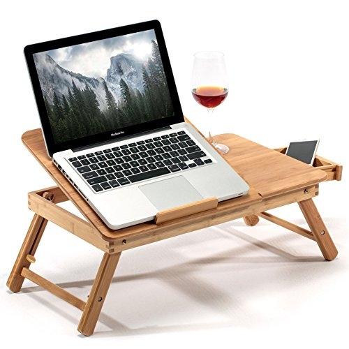 BAKAJI Tavolino Vassoio Letto Divano Porta Notebook Pc Tablet con Gambe Pieghevole in Legno Bambu con Cassettino Portaoggetti e Portabicchierie Dimensione 60 x 30 x 25 cm Colore Bamboo Naturale
