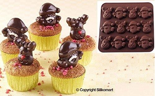 Wonder Cakes by Silikomart 22.510.77.0069Stampo tema Noel silicone marrone 1,2x 15,5x 16,3cm