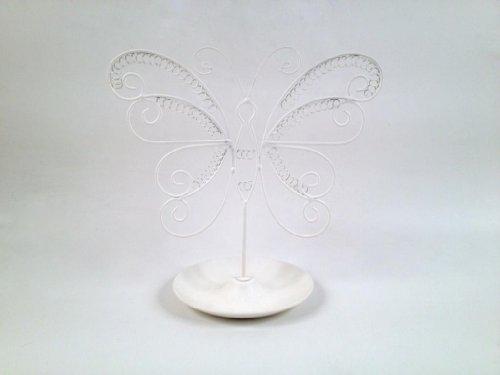 MONTEMAGGI Portagioielli in ferro bianco a forma di farfalla con piattino