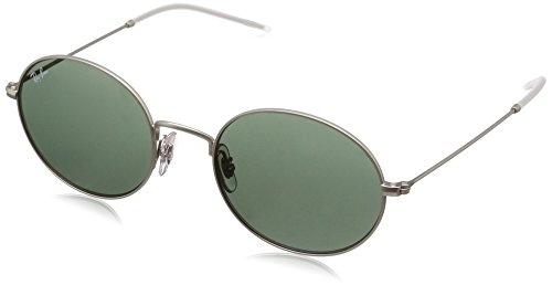 Rayban 0RB3594 911671 53, Occhiali da Sole Unisex-Adulto, Argento (Rubber Silver/Dark Green)