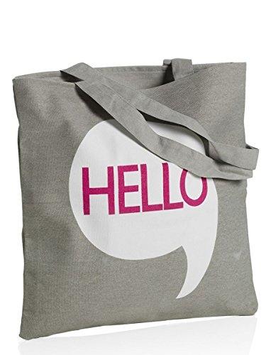 """MONTEMAGGI Borsa in cotone grigio con manici lunghi con scritta """"hello"""". Dotata di cerniera. Dimensioni: 42x1x43 cm"""