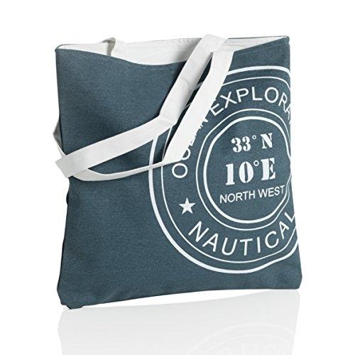 MONTEMAGGI Borsa in cotone blu con manici lunghi. Bellissima borsa da mare o da città dotata di cerniera. Dimensioni: 42x1x43 cm