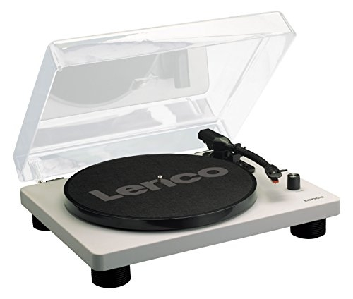 Lenco LS-50 Grey | 33, 45 & 78 RPM Semi-Automatic Belt Drive USB Turntable for Vinyl with Built in Stereo Speakers, Integrated Stereo Pre-Amplifier and Ceramic Cartridge includes Spare Stylus - Grey Record Player