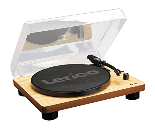 Lenco LS-50 Wood | 33, 45 & 78 RPM Semi-Automatic Belt Drive USB Turntable for Vinyl with Built in Stereo Speakers, Integrated Stereo Pre-Amplifier and Ceramic Cartridge includes Spare Stylus - Wood Record Player