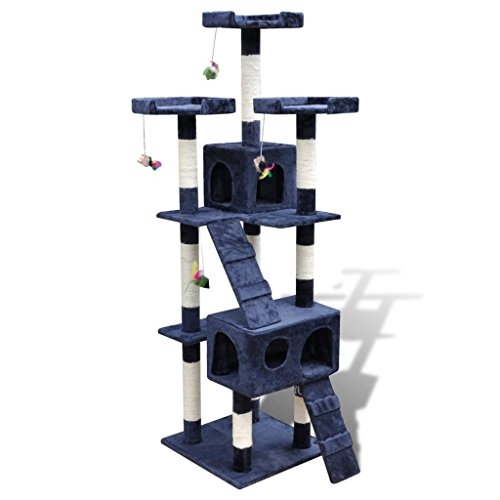 vidaXL Cat Tree Cat Scratching Post Cat Toy Activity Bed 170 cm 2 Condos Dark Blue