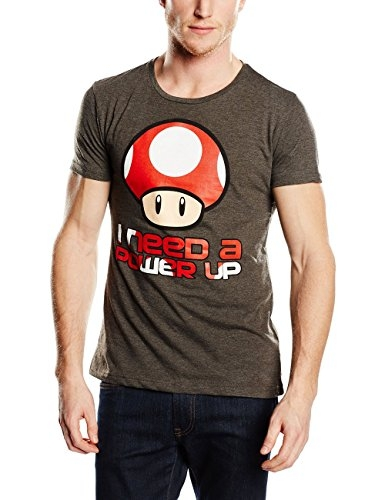 Nintendo T-Shirt -S- I need a Power Up, grau [Edizione: Germania]