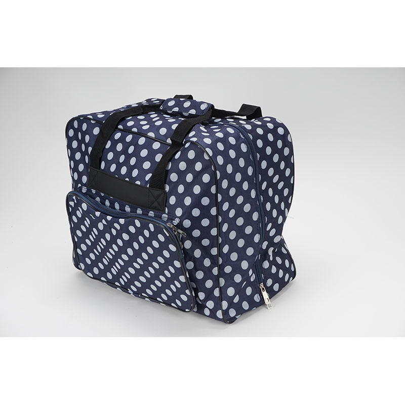Hemline–Dotty bolsa de máquina de coser en azul marino lunares