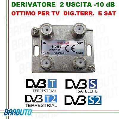 DERIVATORE 2 USCITE -10dB CONNETT. F IN PRESSOFUSIONE SIMILE AL FRACARRO DE2-10