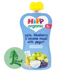 HiPP belgur epli, bláber, banana músli og jógúrt 100 g
