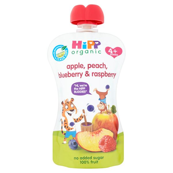 HIPP belgur með ferskjum,eplum, bláberjum og hindberjum 100 g