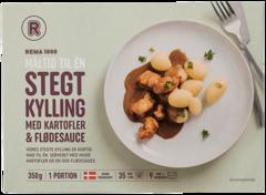 REMA 1000 Steiktur kjúklingur með kartöflum og sósu frosið